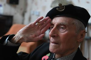 George Leslie Hall, former Prisoner of War, celebrating his 100th birthday