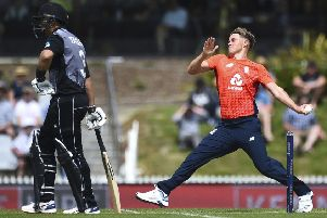 England player Sam Curran bowls during the third Twenty20 international cricket match against New Zealand at Saxton Oval, in Nelson, New Zealand. (Chris Symes/photosport)