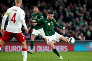 Alan Browne has a shot during the Republic of Ireland's 1-1 draw with Denmark at the Aviva Stadium on Monday night