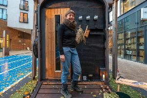 Bethany Wells with the Warmth sauna, which will be open near More Music in the West End on Friday November 29 and Saturday November 30 Picture: Lizzie Coombes
