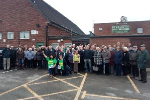 Protesters outside the church community hub after plans were redevelopment plans were revealed in November 2018.