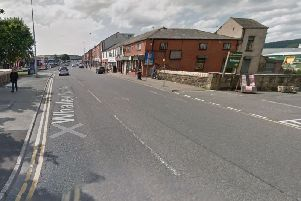 A Fiat Punto Grande mounted the pavement in King Street/Whalley Banks, near Howdens Joinery, before hitting Alison McBlaine, 36, and a second pedestrian. Pic: Google