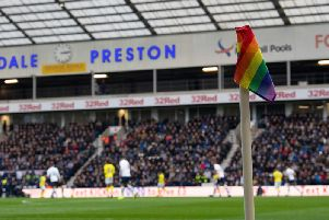 The corner flags, as well as substitution boards, captain's armbands and players' laces will be following the rainbow theme for PNE's home game against West Bromwich Albion. Credit: Ian Robinson/Preston North End