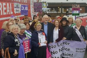 Labour leader Jeremy Corbyn with Waspi women and campaigners.