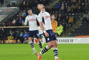 Patrick Bauer looks to the sky after putting a chance wide in Preston's defeat at Hull