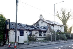 The charred remains of the Boar's Head pub.