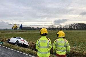 An air ambulance attended the scene. (Credit: Lancashire Fire and Rescue Service)