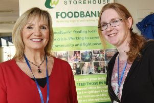Carol Halton and Helen Schilz at the Store House food bank, based at Living Waters Church, Chorley.