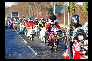 Santas on Scooters at Royal Preston Hospital