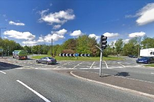 The traffic lights at Bluebell Way roundabout are out this morning (Friday, December 6). Pic: Google