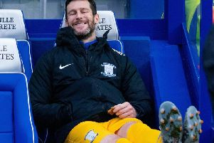 David Nugent in the dug out before Preston's game at Queens Park Rangers - could he start against Fulham?