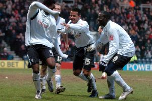 Claude Davis throws a few shapes to celebrate scoring Preston's fifth goal against Luton Town at Deepdale in February 2006