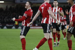 John Fleck celebrates opening the scoring in Sheffield United's 2-0 win over Aston Villa