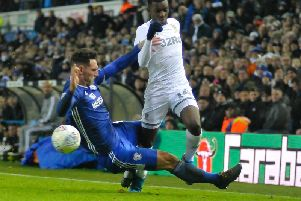 Red card offence: Sean Morrison's tackle on Leeds United's Eddie Nketiah that earned the Cardiff City player a red card.