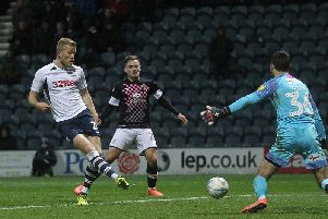 Jayden Stockley scores Preston's winning goal against Luton Town at Deepdale