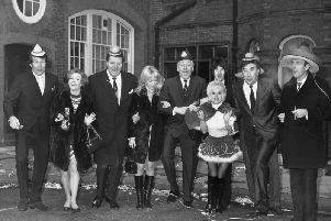 Television favourites Ted Roger, Millicent Martin, Tommy Cooper, Danish actress Yutte Stensgaard, Hughie Green, Barbara Windsor, Terry Sylvester, Frankie Howerd and Eric Sykes  promoting ITV's Christmas programming in 1969