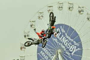 The Bolddog Lings motorcycle display team stun the large crowds in the main ring at the Great Yorkshire Show. Picture Tony Johnson.