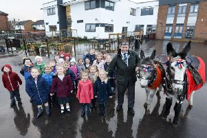 Pupils at Armfield Academy received a visit from  a pair of donkeys