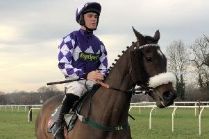 Tommy Dowson and Lady Buttons at the start for Doncaster's Yorkshire Silver Vase Mares' Steeplechase. Photo: Phill Andrews.