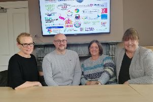 Charity collaboration - (left to right) Louise Bache (Heartbeat), Joe Hannet and Denise Partington (Community Futures) and Diane Gradwell (Citizens Advice Lancashire West)