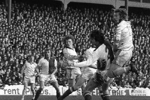 Alex Bruce scores Preston's winner against Blackburn at Ewood Park in March 1979