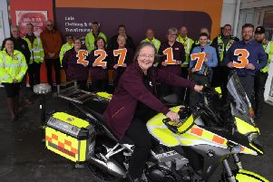 Sainsbury's in Bamber Bridge and Morecambe presenting North West Blood Bikes with a donation of over 27,000