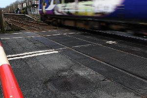 A pothole just beside the Bamber Bridge train tracks in Network Rail land.