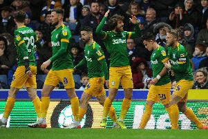 PNE players celebrate Josh Harrop's equaliser.