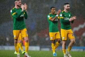 Alan Browne, Scott Sinclair and Sean Maguire applaud the Preston fans at the final whistle at Blackburn