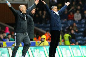 Preston manager Alex Neil and Blackburn boss Tony Mowbray appeal in unison for a decision at Ewood Park