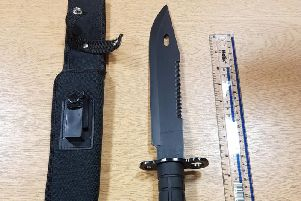 Officers from the Chorley Task Force recovered a large knife during a pro-active stop and search of a male in Chorley. (Credit: Lancashire Police)
