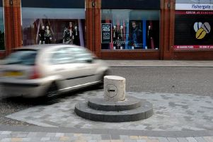 The bollard on its plinth in happier times