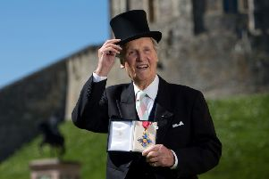 Nicholas Parsons with his CBE at Windsor Castle