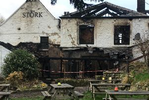 The Stork Inn, Conder Green, after the fire.