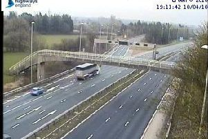Empty carriageways in the aftermath of the smash near Broughton