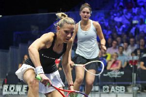 Laura Massaro in action in her first-round match (photo: PSA)