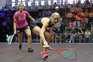 Laura Massaro in action against Raneem El Welily in Dubai (photo: PSA)