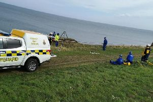 The Sunderland Coastguard Rescue Team and South Shields Volunteer Life Brigade on the scene. Image by the Coastguard service.