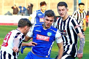 Tom Kilifin in action against Stafford Rangers on Saturday