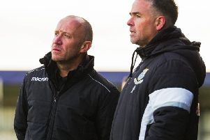 Brig manager Mick Taylor, left, and assistant Neil Crowe