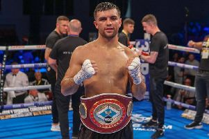 Jack Catterall celebrates victory over Ohara Davies. Picture: Chris Roberts