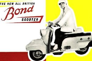 The Bond P1 Scooter was made at Sharps Commercials, Ribbleton Lane, Preston. Picture courtesy of Preston Digital Archive