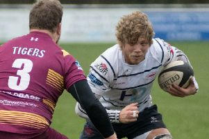 Action from Hoppers' defeat at Sedgley Park (photo: Mike Craig)