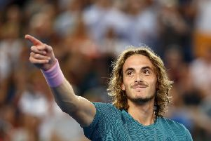 SORRY: Stefanos Tsitsipas of Greece celebrates after winning against Nikoloz Basilashvili of Georgia at Melbourne Park. Picture: Julian Finney/Getty Images