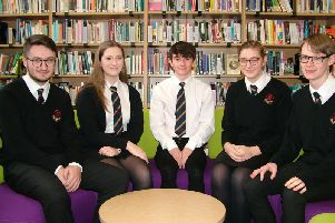 The group of students in the Smithies library at CRGS Sixth Form.