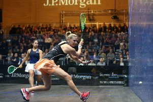 Laura Massaro in action against Salma Hany (photo: PSA)