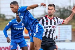 Josh O'Keefe in action against Guiseley last Saturday (photo: Stefan Willoughby)