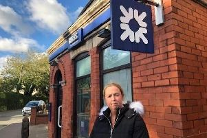 Kim Snape by the RBS Bank in Croston