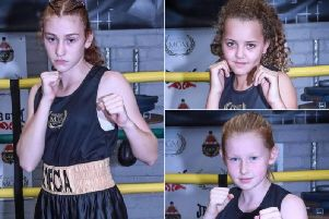 MTK Manchester's Amalie Garcia, Monae Hetherington-Smith and Maisie Morgan