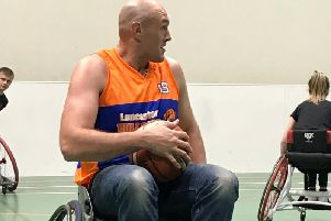 Tyson Fury in training with the Lancaster Bulldogs